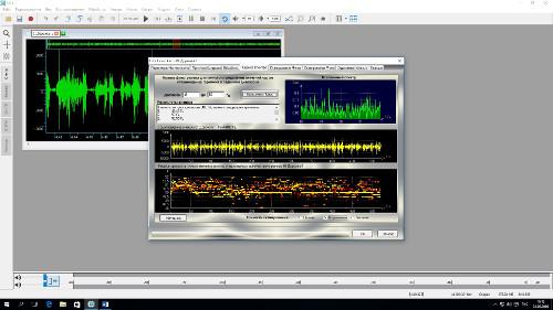 Осциллограмма сигнала, а также вкладка «оценка спектра» модуля EdiTracker