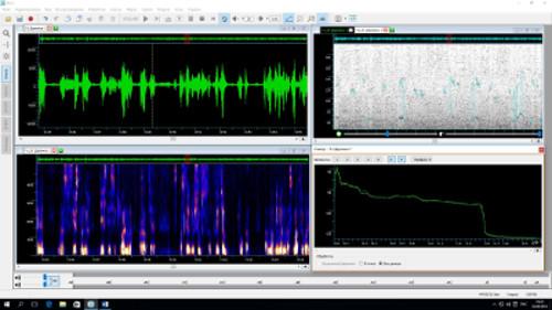 Осциллограмма, спектрограмма, кепстр и график основного тона, а также спектр сигнала